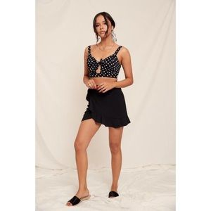 Tops - Black White Polka Dot Cut Out Crop Top